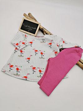 Baby Set mit Leggings Flamingo Weiß