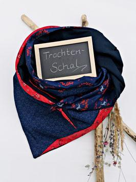 Trachtenschal Blau Rot Hirsch Blau