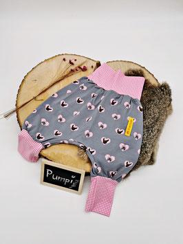 Pumphose Trachten Herz Rosa/Grau