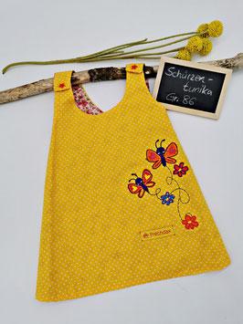 Schürzenkleid Gelb/Weiß gepunktet mit Schmetterlingstickerei