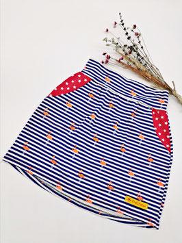 Jersey Rock mit Taschen Flamingo Blau / Weiß gestreift