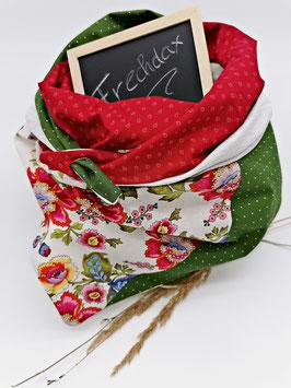 Trachtenschal Blumen Grün Rot