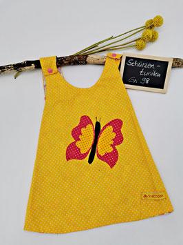 Schürzenkleid Gelb/Weiß gepunktet mit Schmetterlingapplikation