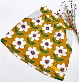 Jersey Rock mit Taschen Blume Weiß / Senf