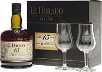El Dorado 15 Jahre + 2 Gläser  0,7l, 43,0%