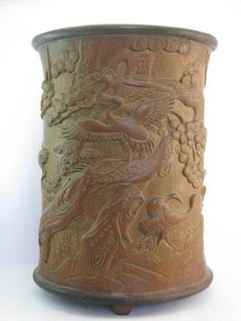Бамбуковый мерный стакан для риса с журавлями.