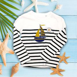 Kinder Shirt weißblau gestreift  | personalisierbar | langer Arm | für Jungen und Mädchen | Yacht