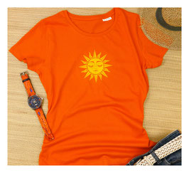Sommer Damen T-Shirt mit der Sonne im Herzen | orange | 100 % Bio Baumwolle
