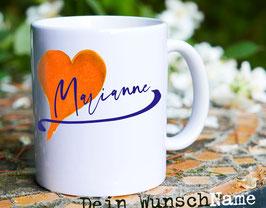 Tasse mit Ihrem Wunschnamen // Herz