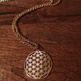 Halskette 80cm und Anhänger Blume des Lebens 29 mm