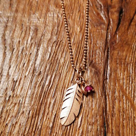 Halskette 80 cm rosegold mit Feder