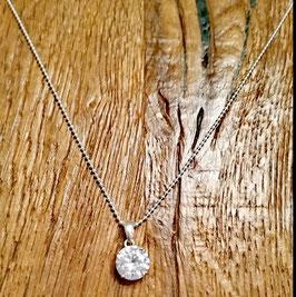 Halskette siber 48cm Zirkonia