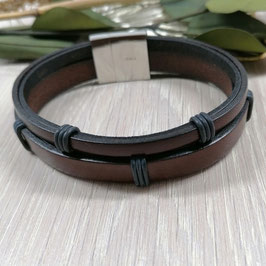 Herrenarmband Leder hellbraun/schwarz