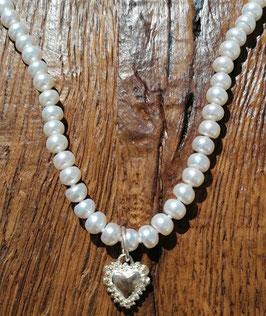 Halskette 42 cm Süsswasserperlen