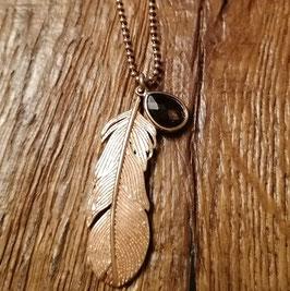 Halskette 88 cm rosegold mit Feder