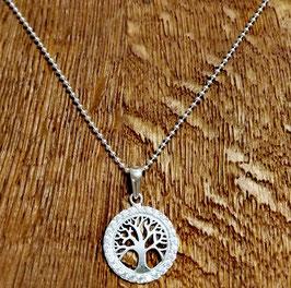 Halskette silber 48 cm Zirkonia mit Anhänger Lebensbaum
