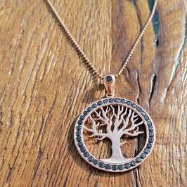 Halskette 88cm Rosegold Lebensbaum mit Rauchquarz