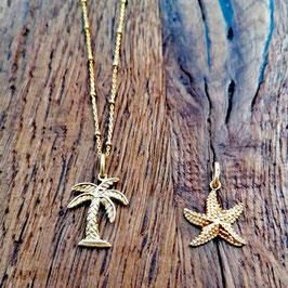 Halskette 44cm gelbgold mit Palme oder Seestern