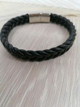 Herrenarmband Leder schwarz