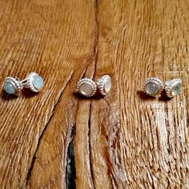 Ohrstecker silber mit Aquamarine, Regenbogenmondstein oder Blauer Topas