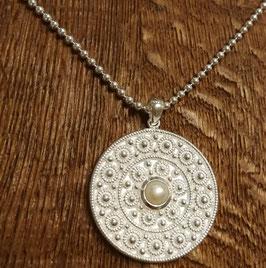 Halskette 80cm silber und Anhänger mit Süsswasserperle