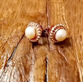 Ohrstecker rosegold Perle auch in silber erhältlich