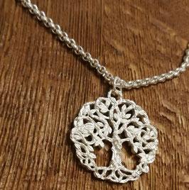 Halskette 80 cm silber und Anhänger mit Lebendbaum