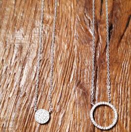 Halskette silber Zirkonia 44 cm