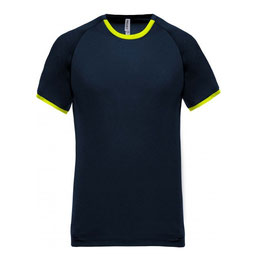 Camiseta Unisex Performance, Manga Corta, Color Marino + Amarillo Fluor. Tallas: XS a 3XL