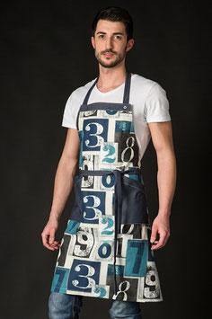 Delantal largo con peto estampado números largo 78cm de algodón.
