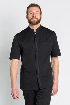 Chaqueta caballero color negro para servicios, manga corta.