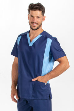 Casaca Sanitaria Hombre de MIcrofibra color Azul.