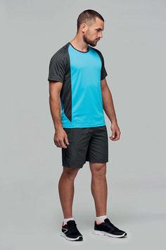 Camiseta Hombre Deportiva Bicolor Turquesa Claro + Gris Oscuro Tallas: S a 4XL