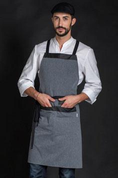 Delantal largo envolvente color gris, con bolsillo largo de 77cm