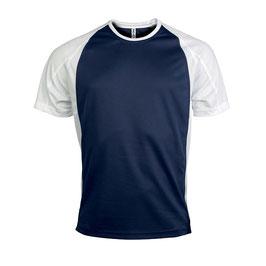 Camiseta Hombre Deportiva Bicolor Marino + Blanco Tallas: S a 4XL