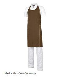 DELANTAL HOSTELERIA MARRON CONTRASTE M520 MEDIDA 90x90cm.