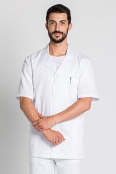 Bata de hombre corta con solapa y botones. Color blanca.