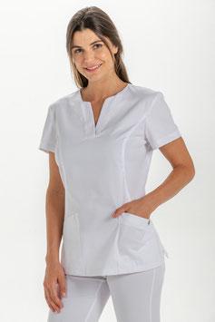 Casaca sanitaria para mujer, tejido microfibra de color blanca