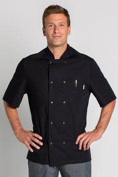 Chaqueta cocinero color negro de popelín manga corta.