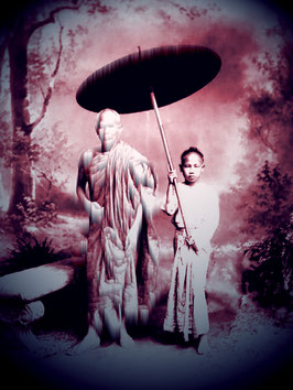 Buddhist monk with young novice
