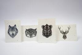 Kartenset aus Samenpapier - Waldtiere
