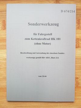 """Heeresdienstvorschrift 674/214 """"Sonderwerkzeug"""""""