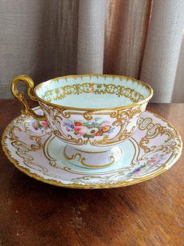 434. コープランド&ギャレット/薄桜色の総手描きティーカップ(英1840年頃)