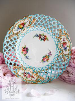 399. ミントン/透かし彫りターコイズブルー華絵23.5cm皿(英1800年代半ば)