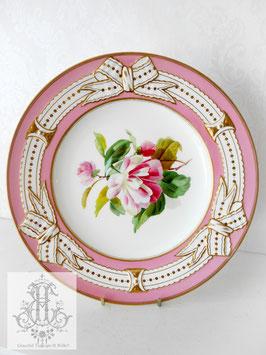 274⑥ リボン&ピンクの手描きボタニカル約23cmプレート(英1860年頃)