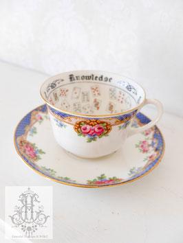 309. エインズレイ/トランプ柄紅茶占いカップ青×ローズ(英1924年頃)