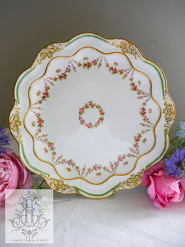 398. ジョージ・ジョンズ・クレゼント/薔薇のガーランド 23.5cm 皿(英1900年代初頭)