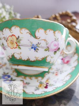 228. ミントン/シーグリーンと野花のティーカップ(英1840年頃)