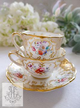 346. 英国製トープ&花絵のトゥルートリオ(1820-50年頃)