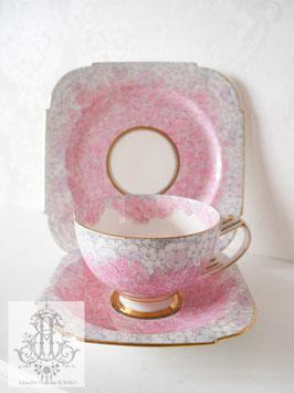 206. パラゴン「メアリー王妃のために」紫陽花トリオ リバイバル品(英1930-1960)Paragon Pink Trio for Queen Mary